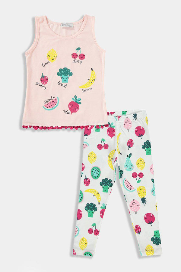 Cream Tutti Fruity Kids Girl lounge Set - SinglePrice
