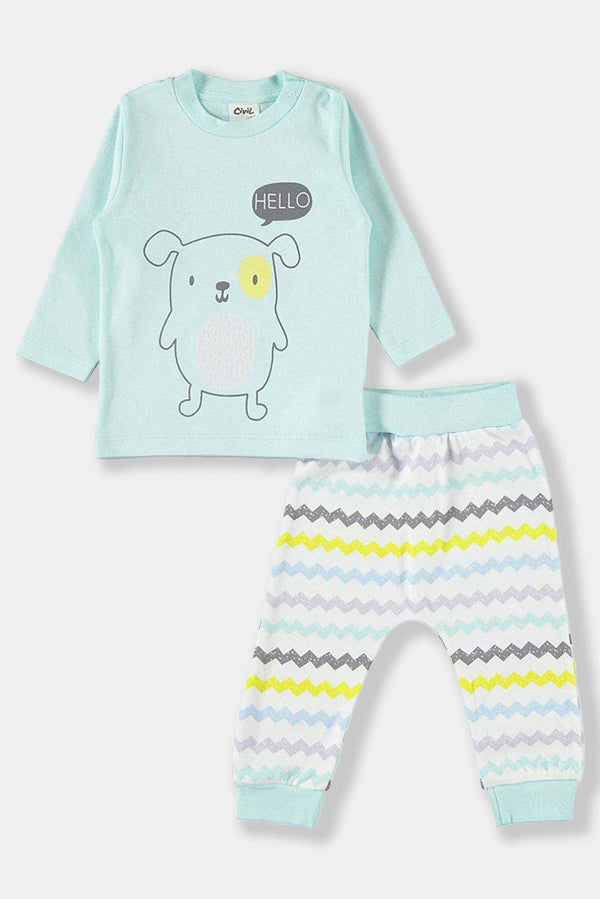 Mint Zig Zag Cotton Baby Unisex Set