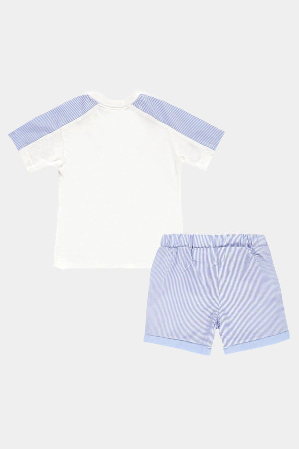 Car Print Pinstripe Top And Shorts Boys Set - SinglePrice