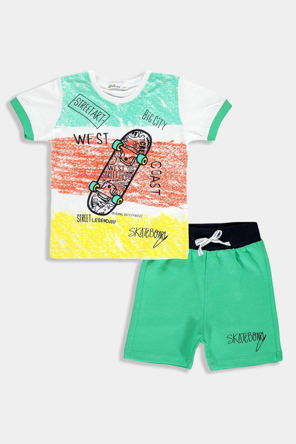 Green Urban Print Kids Boy Set - SinglePrice