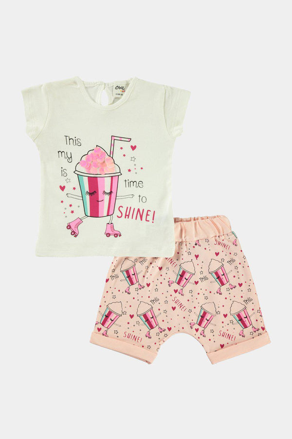 Cream 100% Cotton Milkshake Print Baby Girl Set - SinglePrice
