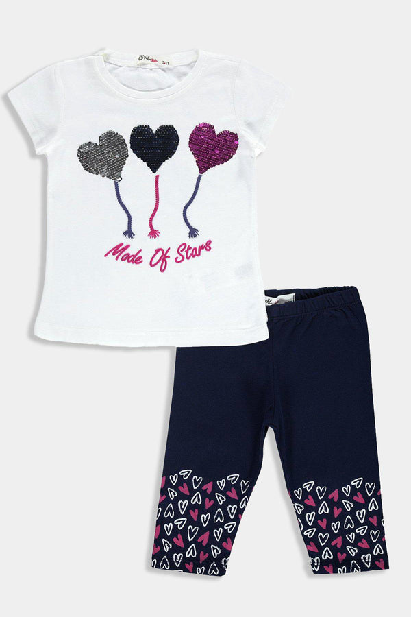 Sequinned Stars T-shirt And Bottoms Kids Girl Set - SinglePrice
