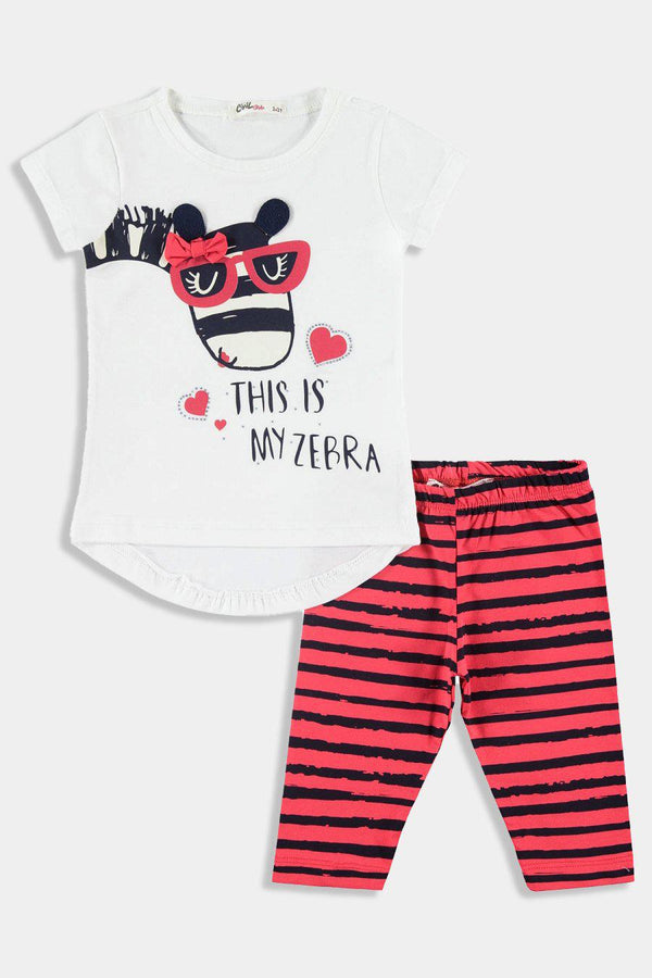 Zebra Print T-shirt And Bottoms Kids Girl Set - SinglePrice