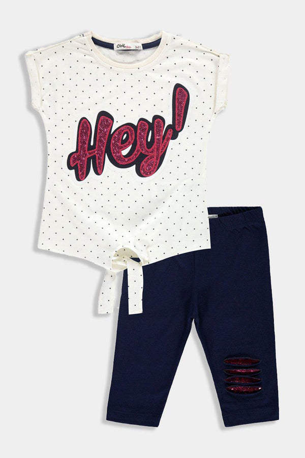 Sequinned Details Front Tie T-Shirt And Bottoms Kids Girl Set - SinglePrice