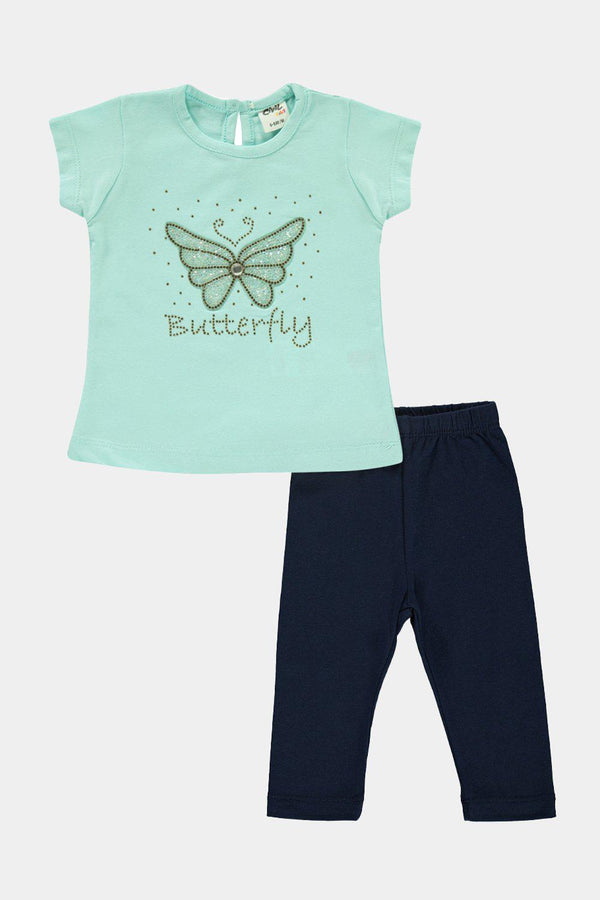100% Cotton Mint Butterfly Print Baby Girl Set - SinglePrice