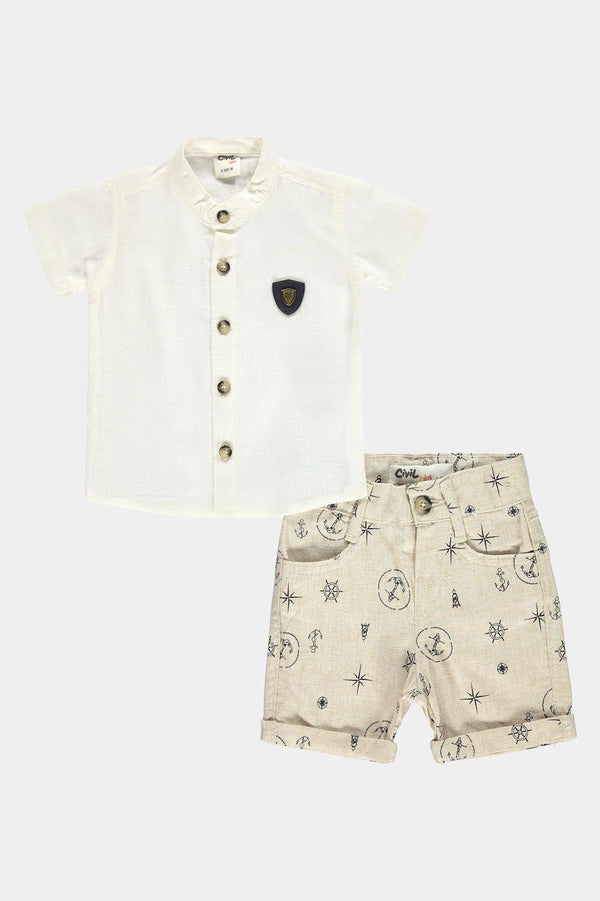 Yacht Club Polo Shirt And Shorts Boys Set - SinglePrice