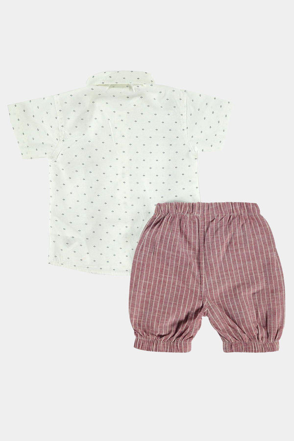 %100 Cotton Red Polka Dot And Stripe Suspenders Baby Boy Set - SinglePrice