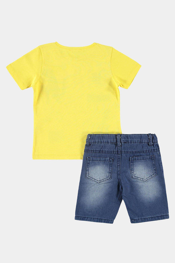 100% Cotton Yellow Playful Print T-Shirt And Shorts Boys Set - SinglePrice