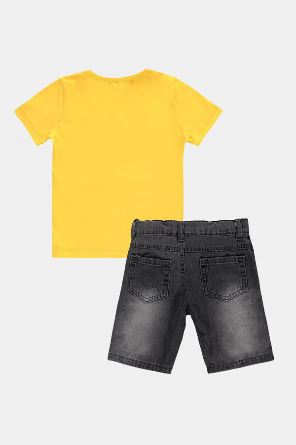 Yellow Bandage Monster Print T-Shirt And Shorts Boys Set - SinglePrice