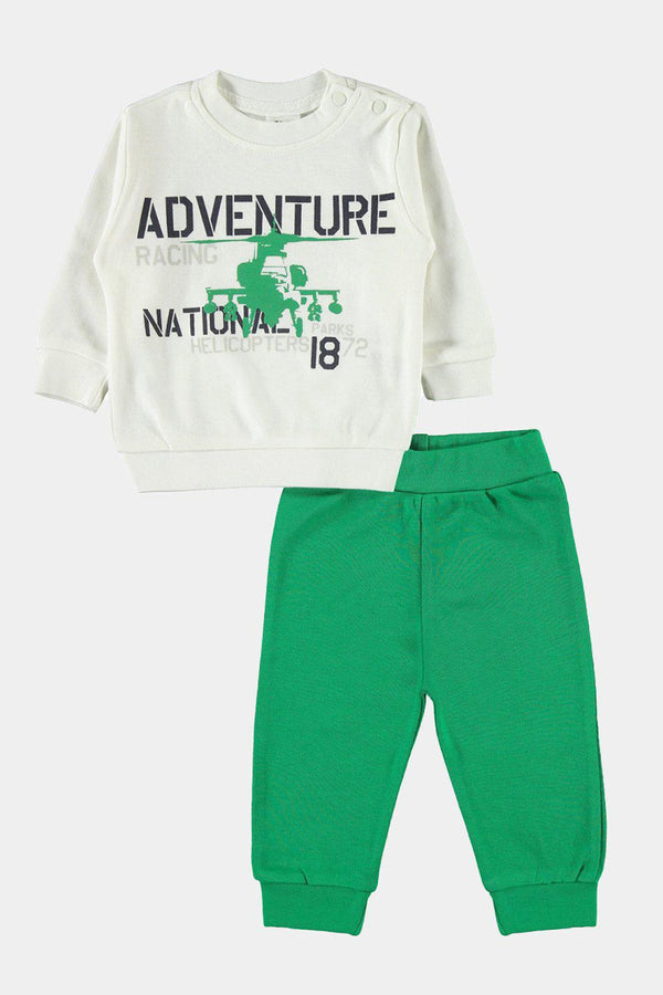 Off White Green Adventure Baby Boy Tracksuit - SinglePrice