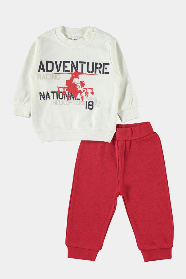 Off White Red Adventure Baby Boy Tracksuit - SinglePrice