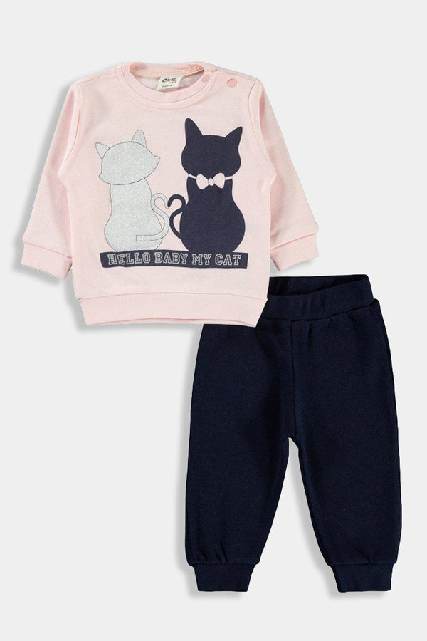Pink Dark Blue Kitty Print Baby Girl Set - SinglePrice