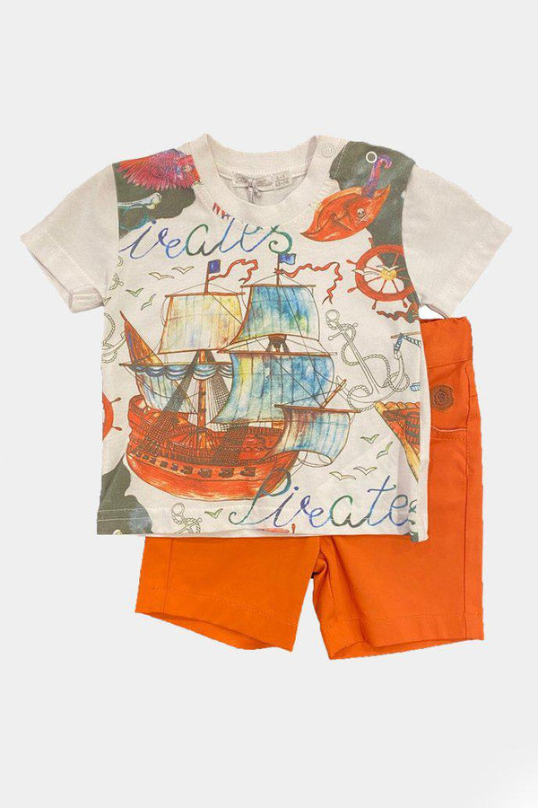 Watercolour Print Orange Shorts And T-Shirt Boys Set - SinglePrice