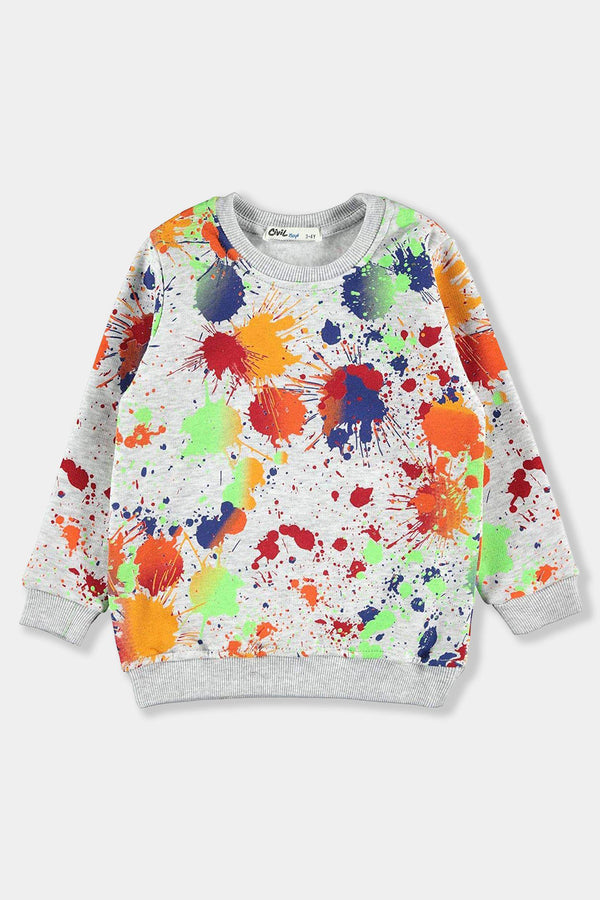 Grey Paint Splash Kids Unisex Sweatshirt