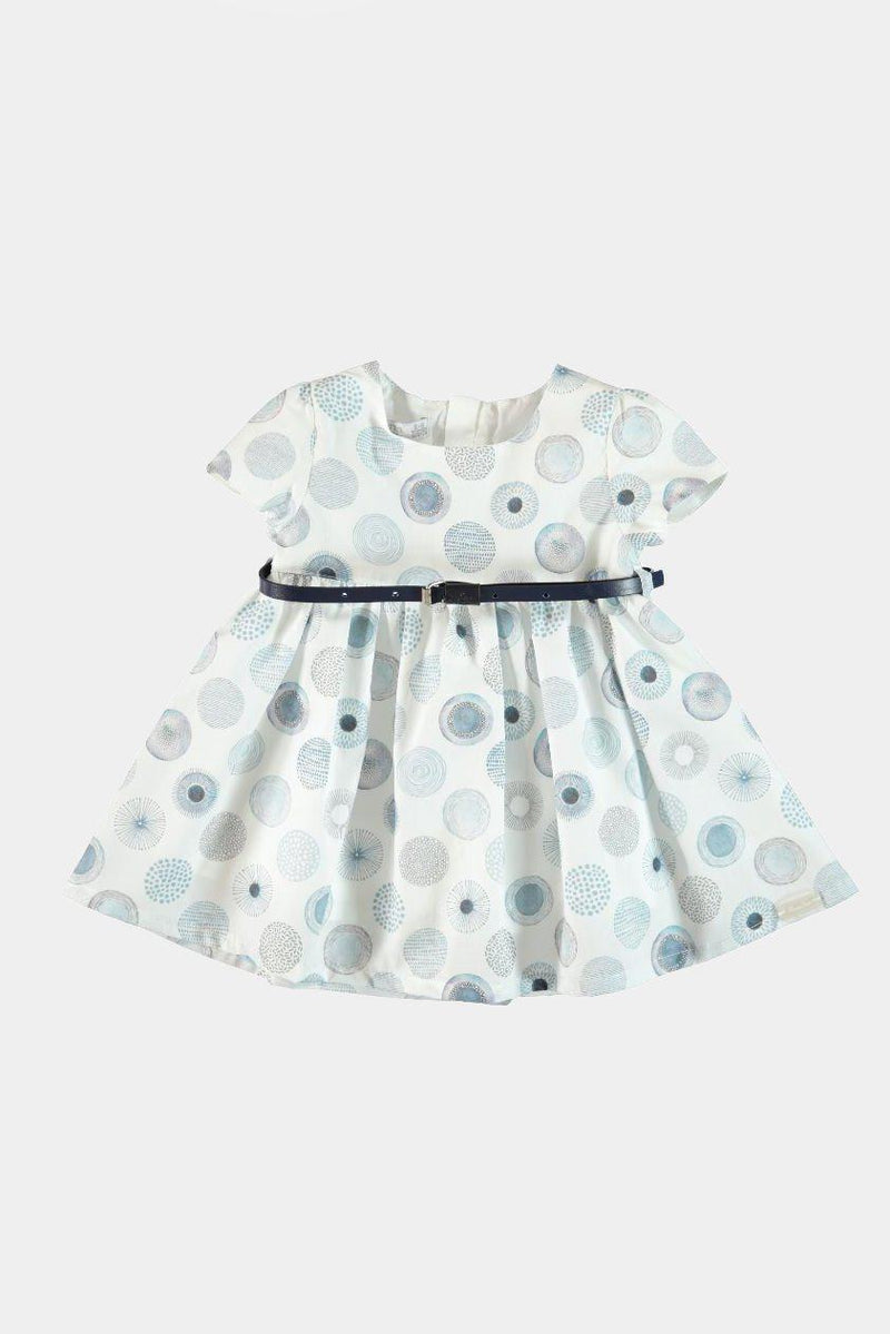 100% Cotton Blue Circles Belted Girls Dress - SinglePrice