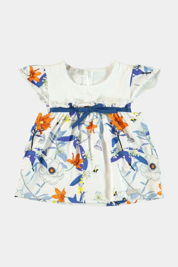 Cotton White Floral Print Top And Leggings Girls Set - SinglePrice