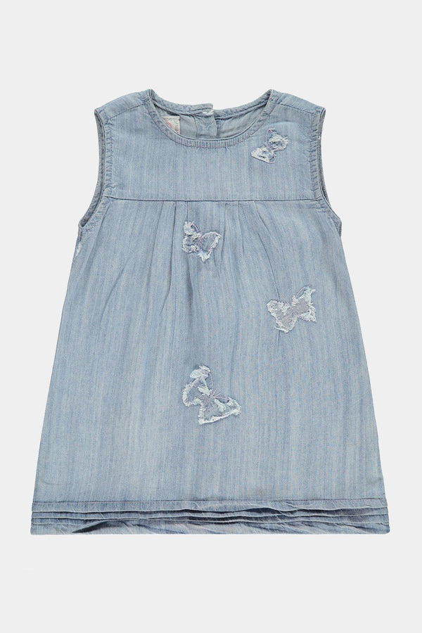 Distressed Butterflies Light Blue Denim Kids Girl Dress - SinglePrice