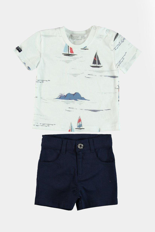 %100 Cotton Ships Print T-Shirt And Short Boys Set - SinglePrice