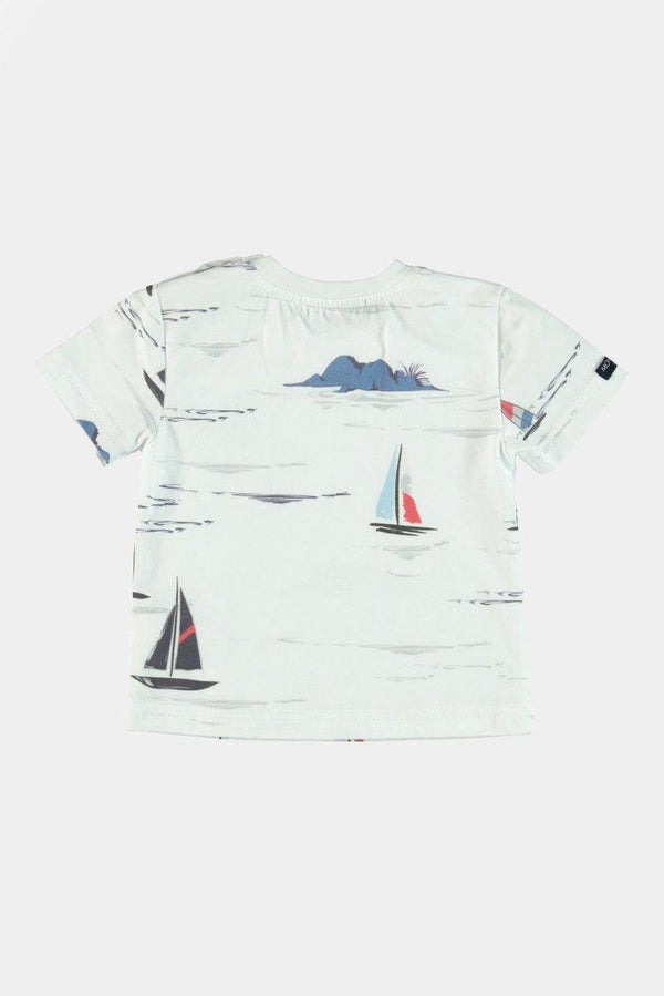 100% Cotton Ships Print T-Shirt And Short Boys Set - SinglePrice