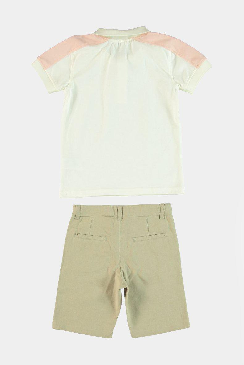 Pink Panels Top And Beige Shorts Boys Set - SinglePrice