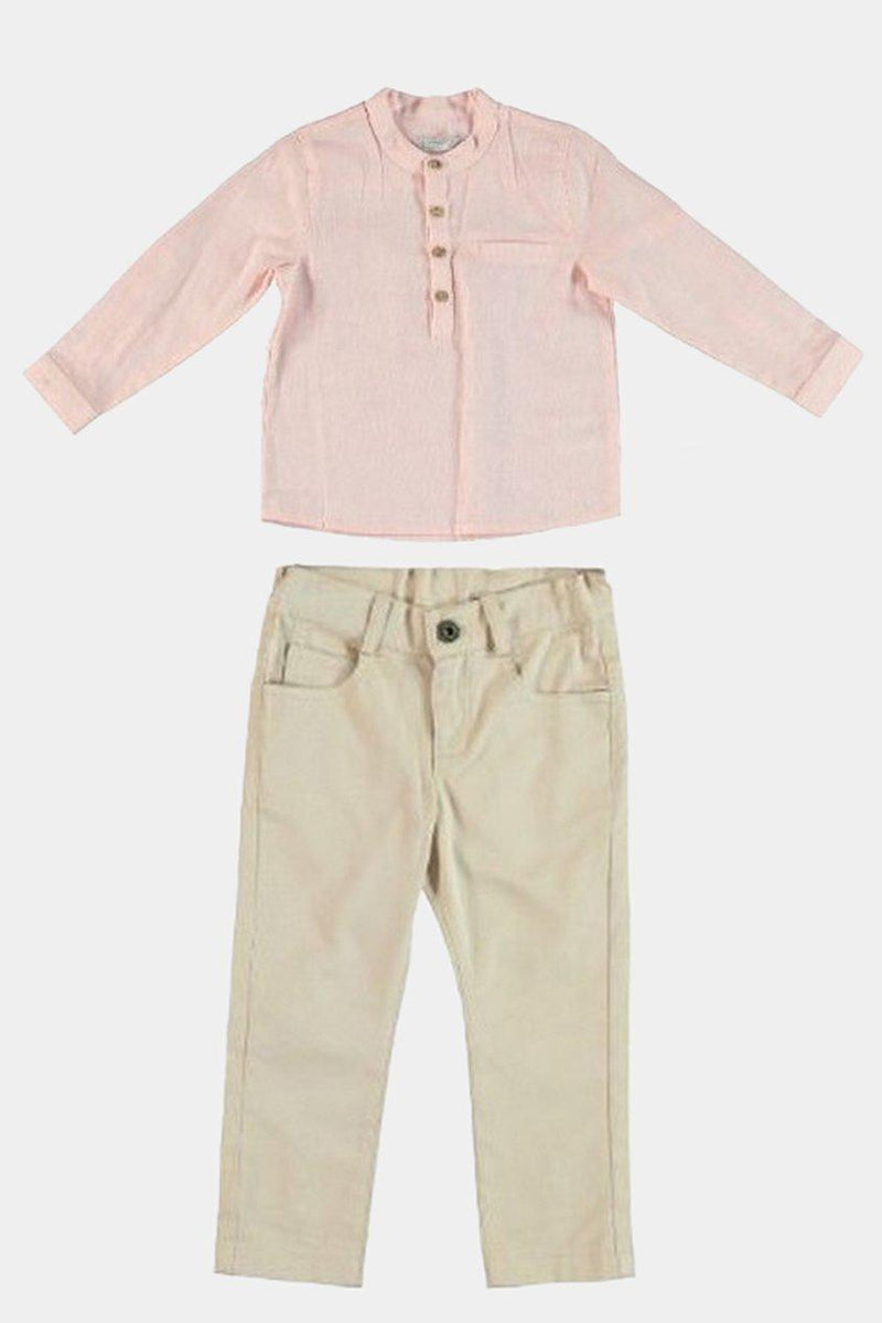 Pink Shirt Beige Pants Boys Set - SinglePrice