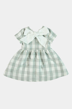 Grey Checked Girls Bow Dress - SinglePrice