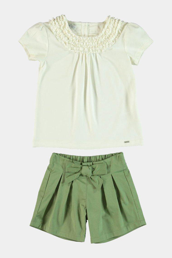 100% Cotton with Elastane White Frill Top And Green Bow Shorts Girls Set - SinglePrice