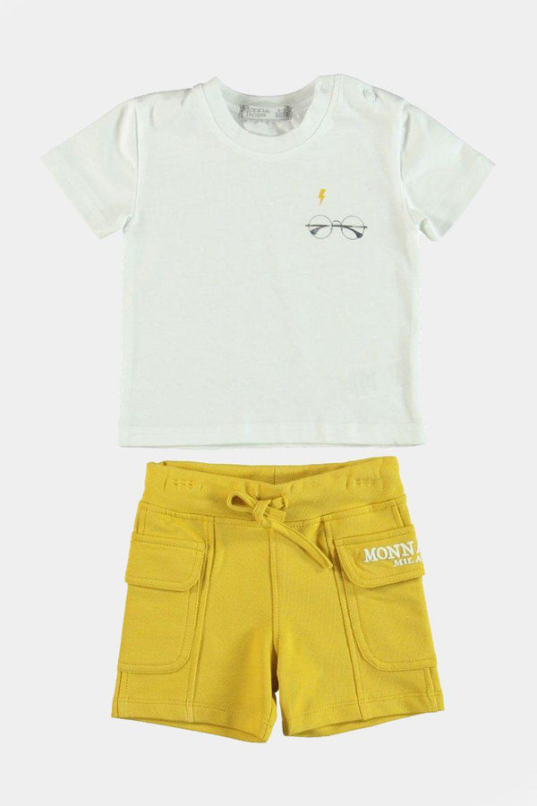 %100 Cotton Glasses Print T-Shirt And Yellow Shorts Boys Set - SinglePrice