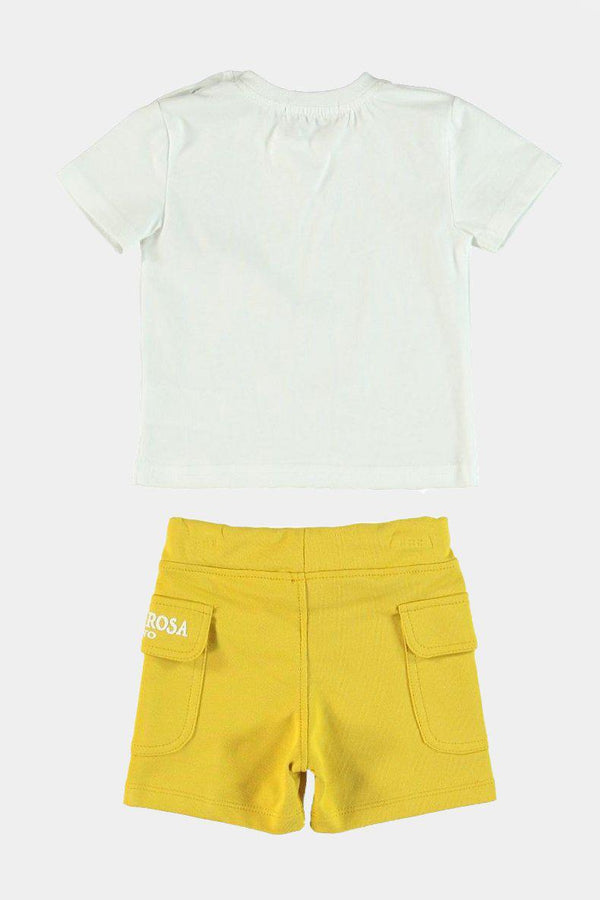 100% Cotton Glasses Print T-Shirt And Yellow Shorts Boys Set - SinglePrice