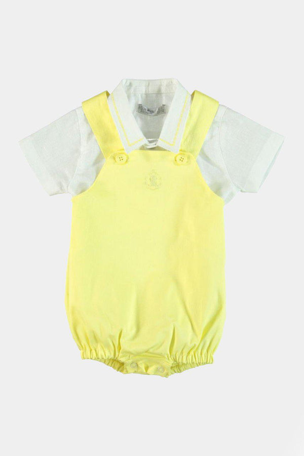 Cotton & Linen Yellow Dungarees And Shirt Boys Set - SinglePrice