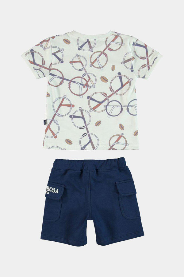 Nerd Glasses Print Boys T-shirt And Shorts Set - SinglePrice