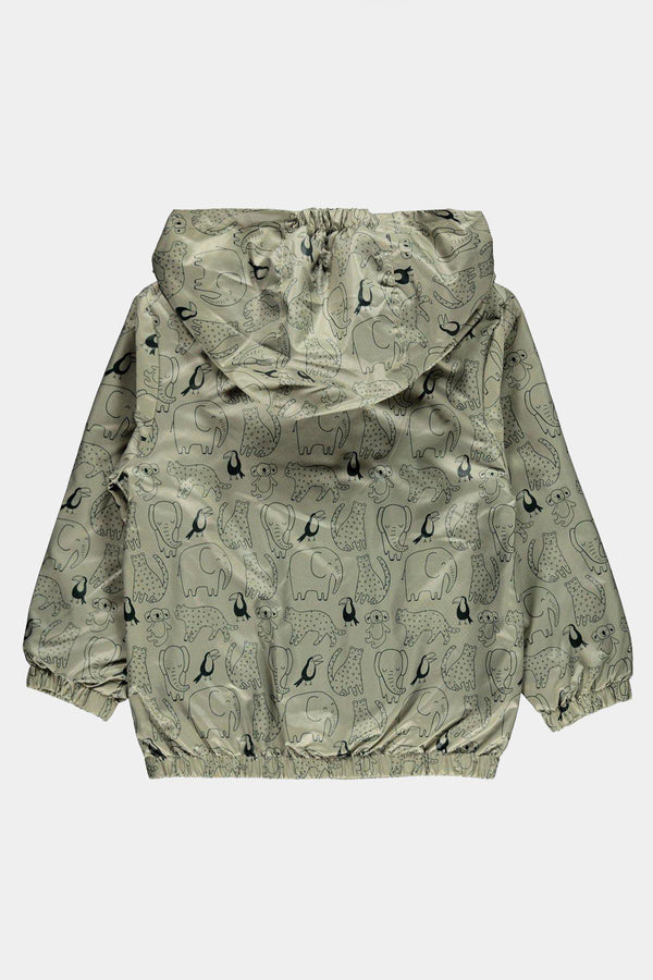 Beige Civil Baby Boy Hoodies Raincoat with Safari Animals - SinglePrice
