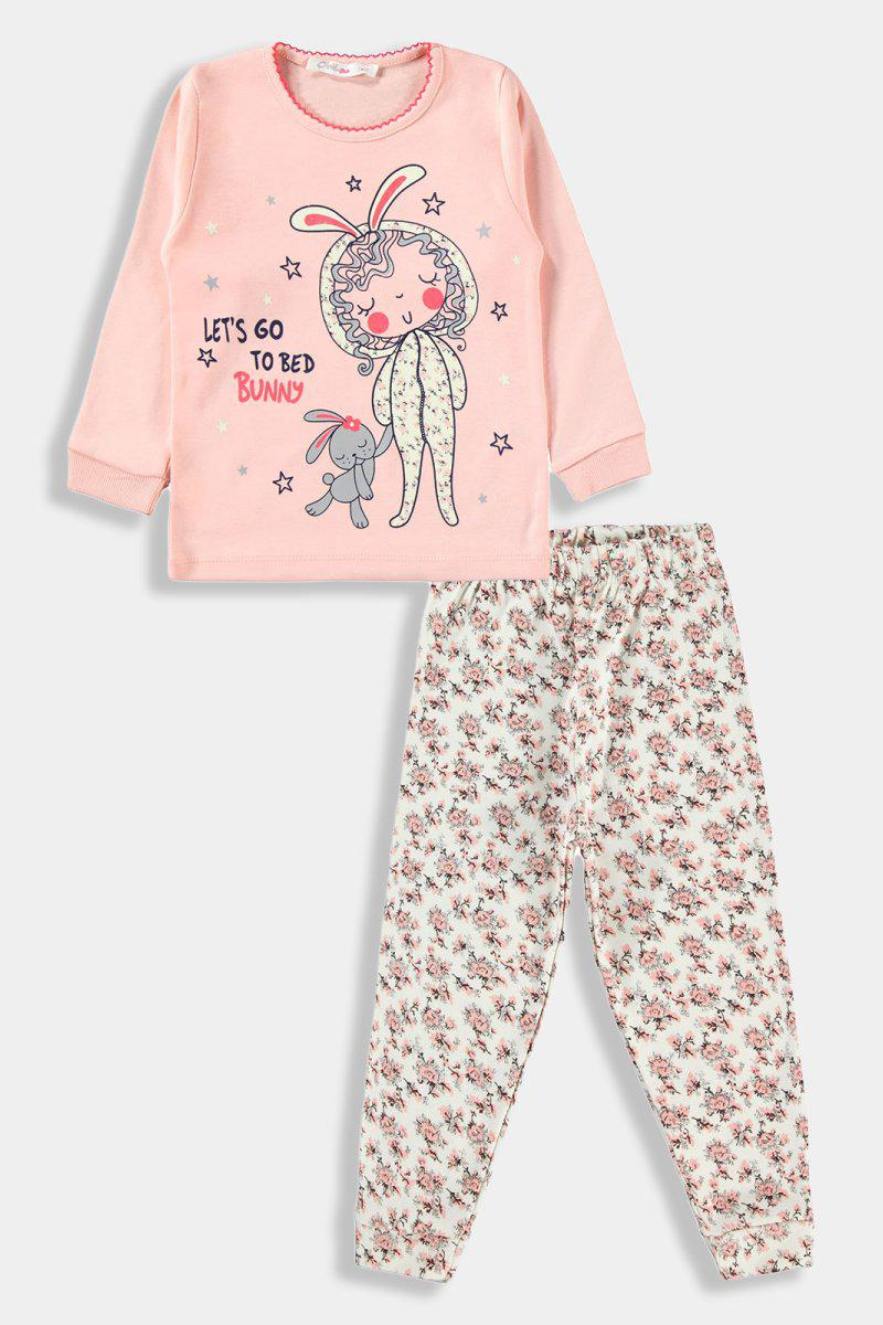 Light Pink Bunny Print Kids Girl Set - SinglePrice