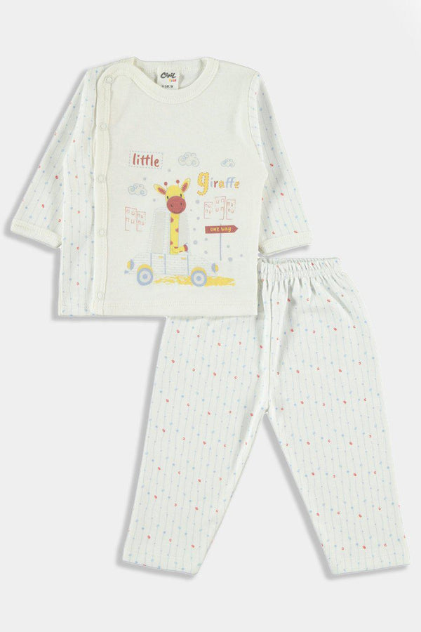 Cream Blue Little Giraffe Print Baby Boy Set - SinglePrice