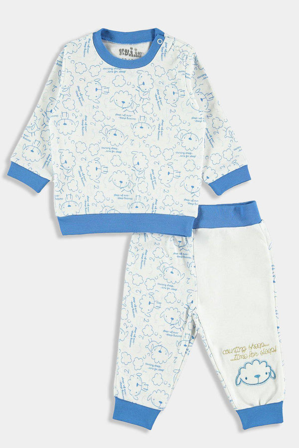 Blue Sheep Print Baby Boy Pyjama Set - SinglePrice