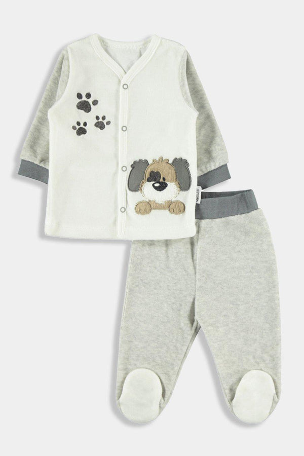 Grey Puppy Embroidery Baby Boy Set - SinglePrice