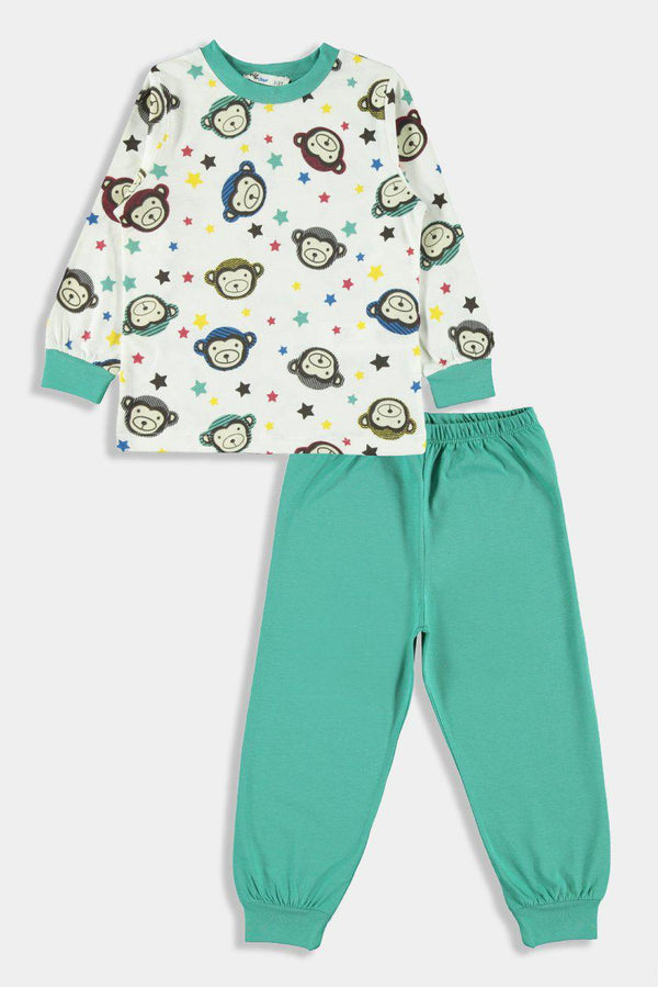 Green Monkey Print Kids Boy Lounge Set - SinglePrice