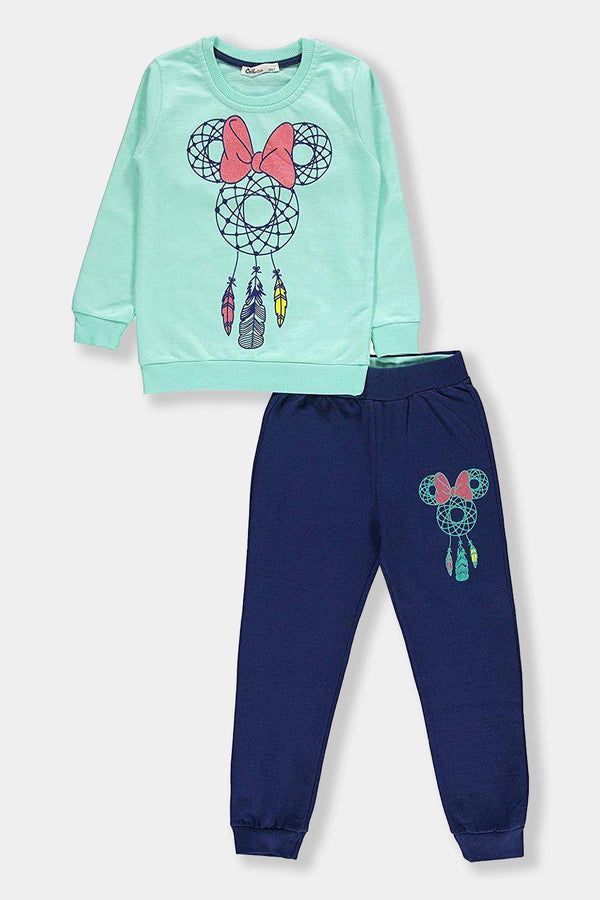 Green Dreamcatcher Print Kids Girl Cotton Set