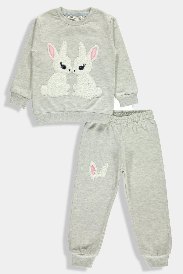 Grey Kissing Bunnies Kids Girl Set-SinglePrice