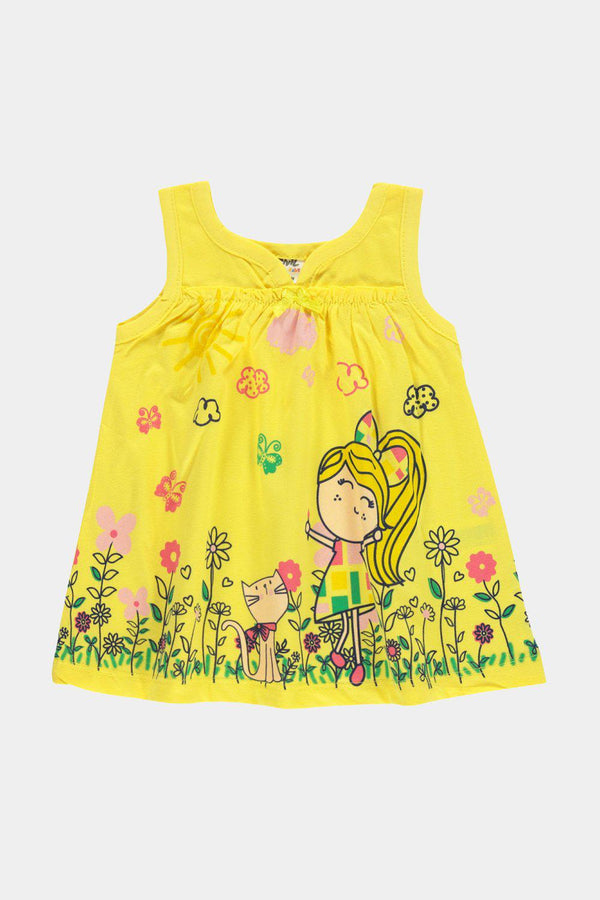 Bright Yellow Cartoon Print Baby Girl Dress - SinglePrice