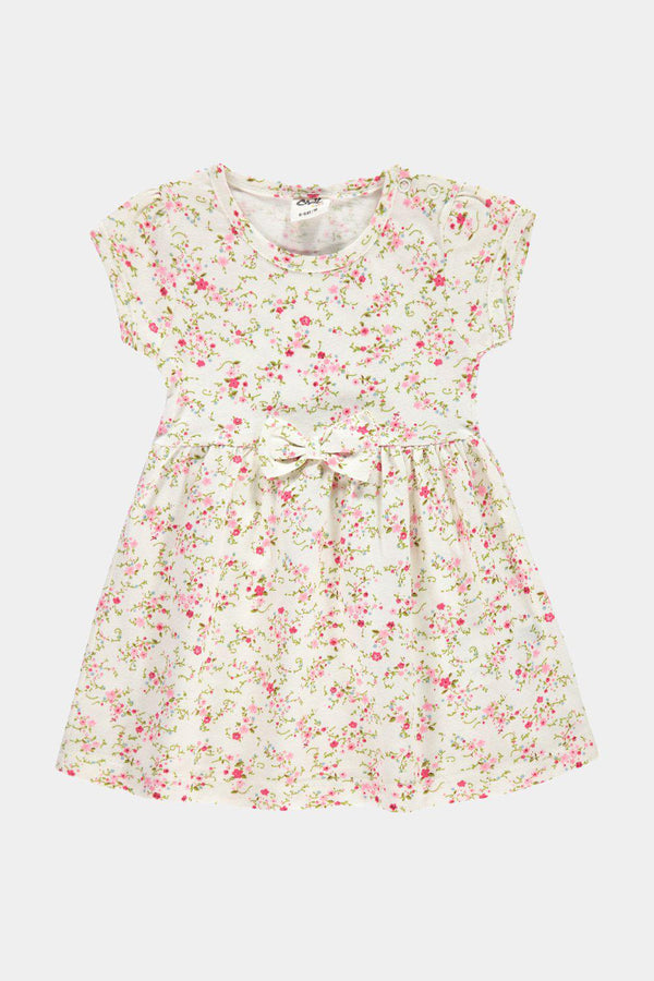 White Floral Print Bow Detail Baby Girl Dress - SinglePrice