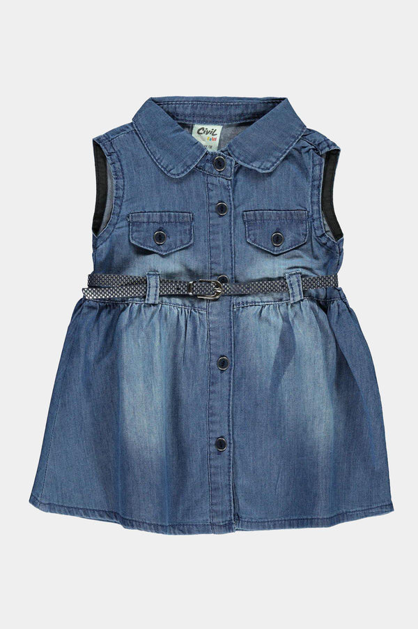 100% Cotton Denim Belted Girls Dress - SinglePrice