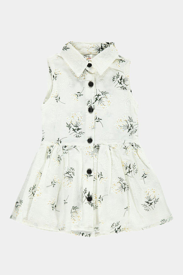 100% Cotton White Floral Print Baby Girl Shirt Dress - SinglePrice