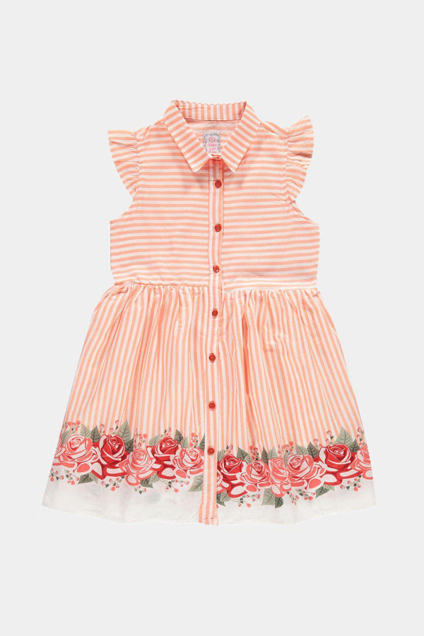 Orange Pinstripe And Floral Print Baby Girl Shirt Dress - SinglePrice