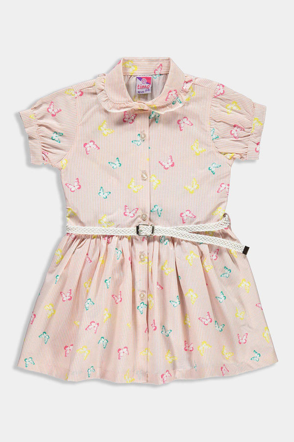 Stripy Pink Butterfly Print Belted Kids Girl Shirt Dress - SinglePrice