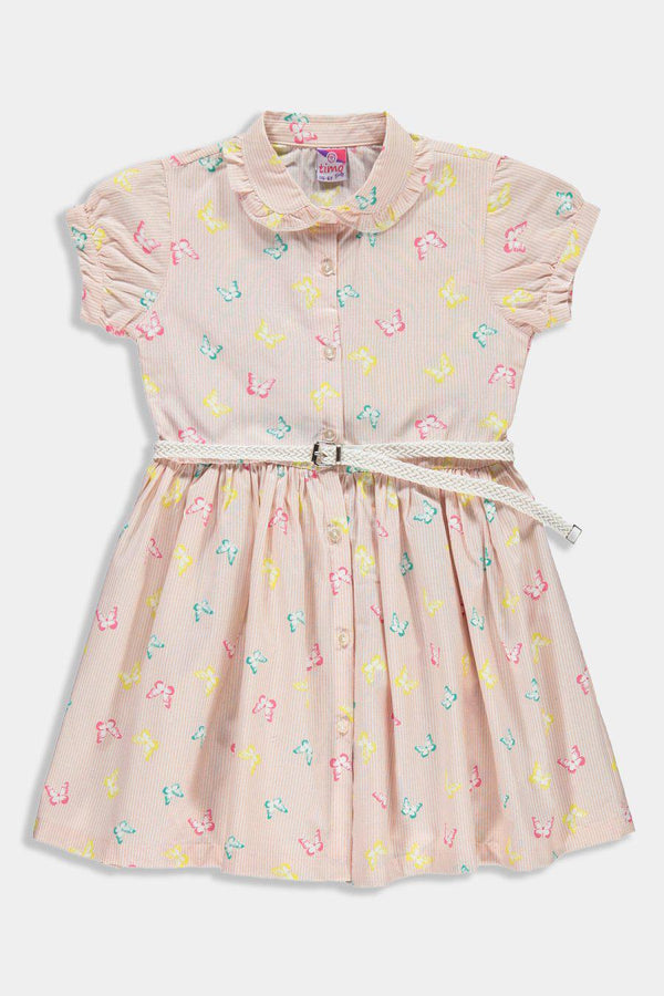 Stripy Pink Butterfly Print Belted Junior Kids Girl Shirt Dress - SinglePrice