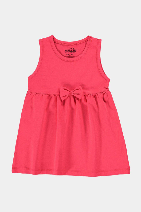 Pomegranate Baby Girl Jersey Bow Detail T-Shirt Dress - SinglePrice