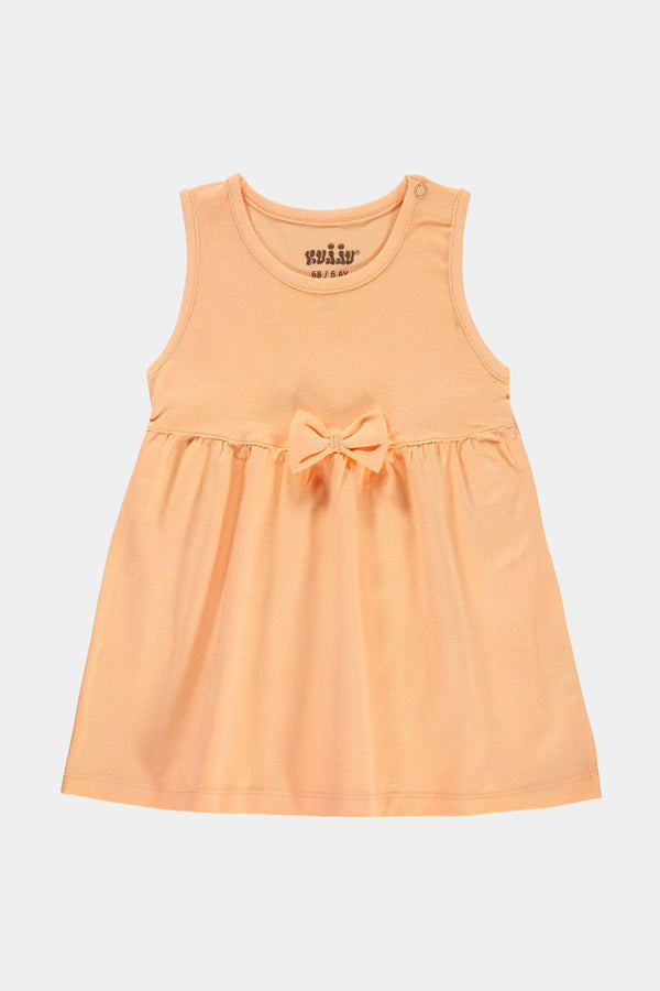 Salmon Baby Girl Jersey Bow Detail T-Shirt Dress - SinglePrice