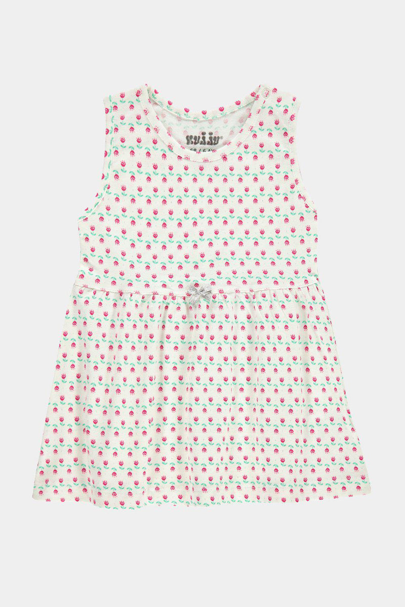 Off White Baby Girl Jersey Tiny Floral Print T-Shirt Dress - SinglePrice