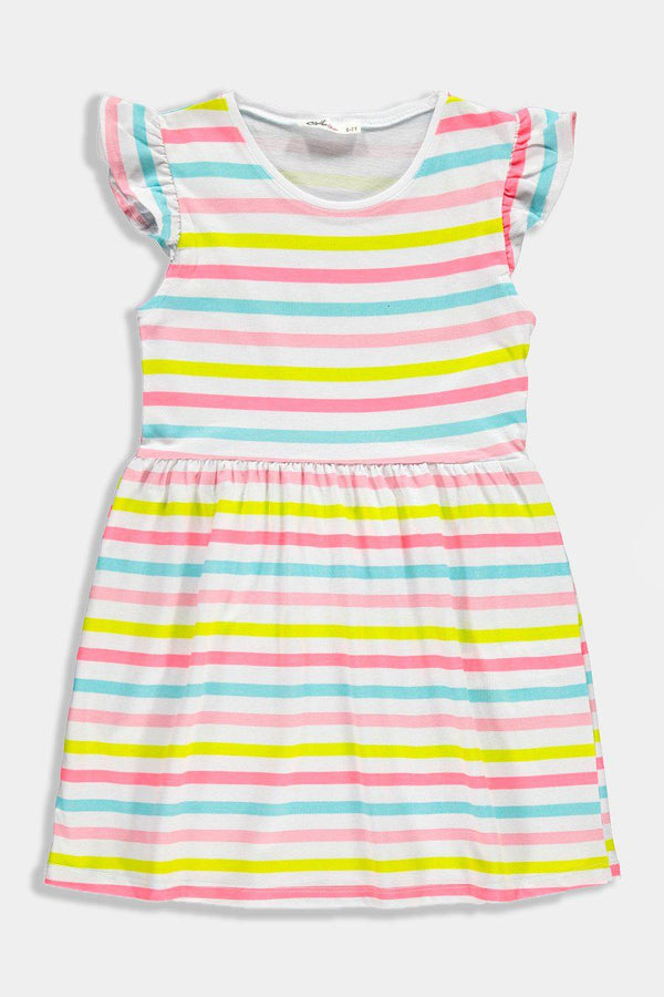 Multicolour Stripes Junior Kids Girl Summer Dress - SinglePrice